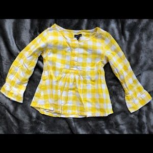 Baby GAP Yellow and White Gingham Blouse 3T